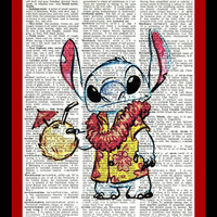 Buy Any 2 Prints get 1 Free Hawaiian Stitch from Lilo and Stitch Hand Drawn Vintage Dictionary Art