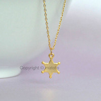 Gold Sheriff Badge Necklace, Police Badge Charm Necklace, Star Charm