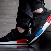 Adidas NMD R1 Primeknit OG Core Black/Core Black/Lush Red S79168 Boost Sport Running Shoes Classic Casual Shoes Sneakers