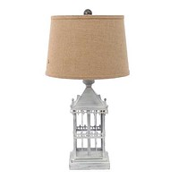 """Gray, Country Cottage, Castle - Table Lamp 15"""" x 12"""" x 25.75"""""""