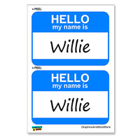 Willie Hello My Name Is - Sheet of 2 Stickers