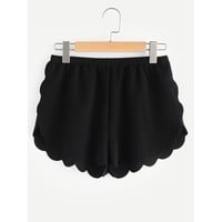 Elasticized Waist Scallop Edge Textured Shorts Black