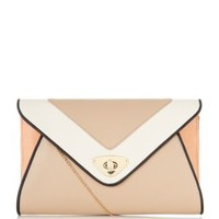 Nude and Pink Colour Block Envelope Clutch