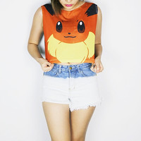 Pokemon eevee crop top tank shirt women S M L