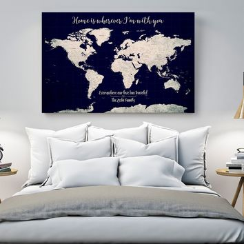 Customize World Map Wall Art Canvas Print Personalized World Map Push Pin Wall Art