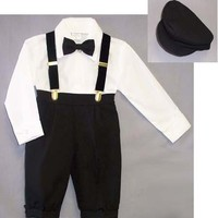 Infants & Toddlers 5-pc Knickers-length Pants Outfit Tuxedo Style with Velvet Suspenders, Bowtie,...