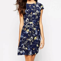 Blue Floral and Bird print Dress