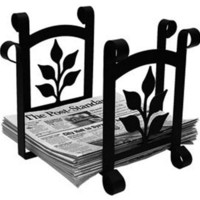 Wrought Iron Leaf Magazine Storage-Newspaper Rack