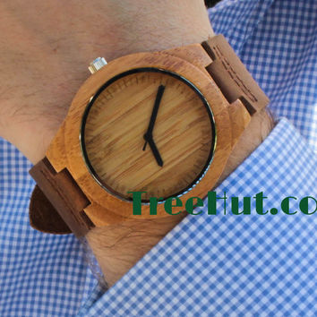 Personalizable Minimalist Bamboo Wooden Watch with Genuine Leather Strap ,mens watch, groomsmen gift, wood watch, men's watch WT007