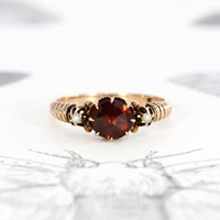 Victorian Garnet & Pearl Promise Ring, Antique 10k Rose Gold, Bohemian Alternative Engagement Ring Commitment Jewelry, January Birthstone