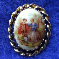 Victorian Courting Couple Brooch, Porcelain Fragonard Pin, Vintage Rococo Victorian Pin, Collectible Brooch, Wedding Gift Romantic Pin, Fall