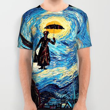 mary poppins Starry Night oil painting All Over Print Shirt by Greenlight8