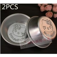 2Pcs  hello kitty cookie mold Fondant Cake Cookie Decorating tools  Plastic pink baking pastry tools Mousse ring pastry tools