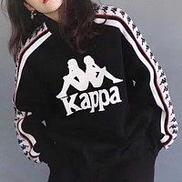 Kappa New fashion letter print long sleeve sweater top Black