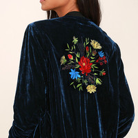 What a Time to be Alive Navy Blue Embroidered Bomber Jacket
