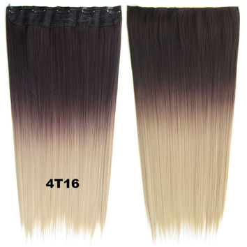 "Dip dye hairpieces New Fashion 24"" Women Clip in on gradient wig Bath & Beauty Hair Ombre Hair Extensions Two Tone Straight hair Gradient Hair Extension Colorful Hairpieces GS-666 4T16,1PCS"