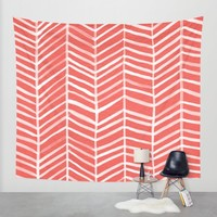 Coral Herringbone Wall Tapestry by Cat Coquillette | Society6