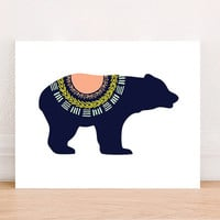 Bear Tribal Digital Art Print Instant Download, Motivational Art Print, Nursery Art Print, Nursery Wall Art, Tribal Art, Mountain Decor
