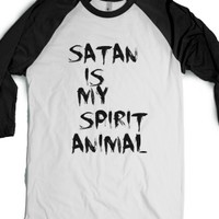 Satan is my Spirit Animal-Unisex White/Black T-Shirt