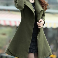 Army Green Long Sleeves Belted Wool Coat