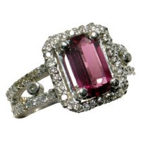 MOTHER'S DAY SALE! Purplish Red Spinel Diamond Platinum Ring - Designer Signed