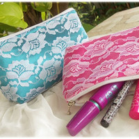 Lace Clutch , Sweet cosmetic bag, Makeup pouch , lace pouch, lace gifts , bachelorette gift , sweet lolita bag