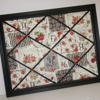 Roses for You Black & Red Floral Inspiration Vignette fabric ~ Framed Memo Board