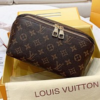 Hipgirls LV Louis vuitton New fashion monogram tartan leather handbag cosmetic bag