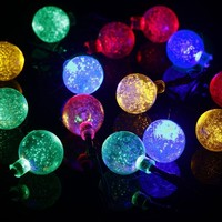 GoFurther Solar Powered LED String Lights Waterproof 20ft 30 LED Multi-color Crystal Ball Fairy Lights For Outdoor, Indoor, Gardens, Lawn, Patio, Christmas, Weddings, Parties