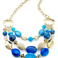 Style&co. Necklace, Gold-Tone Blue Bead Frontal Necklace - All Fashion Jewelry - Jewelry & Watches - Macy's