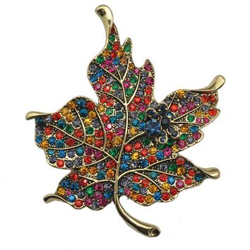 Multi Color Crystal Rhinestone Maple Leaf Brooch Pin Plant Costume Jewelry For Women