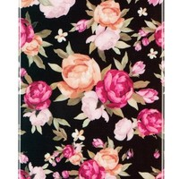 Black with Pink Flowers Flexible TPU Case with Clear Sides for Apple iPhone 4S & iPhone 4 [Retail Packaging by DandyCase]