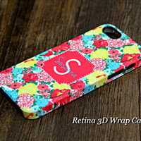 Coral Pink Floral Pattern Monogram iPhone 6 Plus 6s 5S 5 5C 4 Protective Case#933