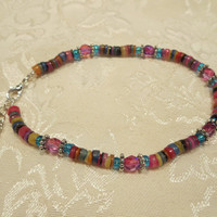 Beachy Rainbow Shell Heishi Beads Ankle Bracelet Beach Anklet Summertime Jewelry Sun tan Natural Shell Bohemian Chic