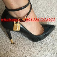 2017 New Fashion Gold Lock Ankle Strappy Women Pumps Pointed Toe Suede & Leather High Heel Pumps Wedding / Party Shoes Woman