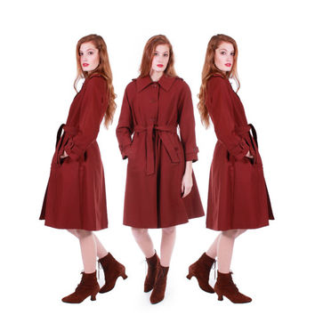 70s Vintage Trench Coat Chestnut Brown Belted Short Rain Jacket Plaid Interior Retro Mod Winter Clothing Women Size Small