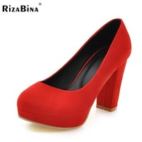 Size 34-43 Women High Heel Shoes Women's Pumps 5 Color Sexy Wedding Party Shoes Platform Round Toe Scrub Lady shoes