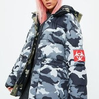 Missguided - Grey Camo Puffer Jacket