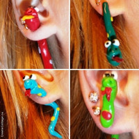 two part stud earrings symbol 2013 snake, serpent, two part Polymerclay, handmade