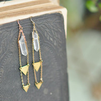 Dangling Crystal Earrings, Crystal Earrings, Quartz Crystal, Tribal Earrings, Boho Earrings, Bohemian Earrings, Gypsy Earrings, Healing