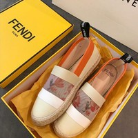 FENDI White canvas espadrilles