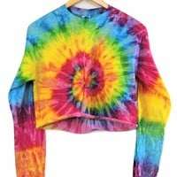 Bright Rainbow Tie-Dye Cropped Long Sleeve Unisex Tee