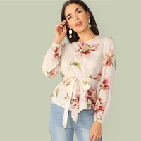 Floral Print Belted Curved Hem Blouse Women Clothes Elegant Round Neck Long Sleeve Blouse Ladies Tops