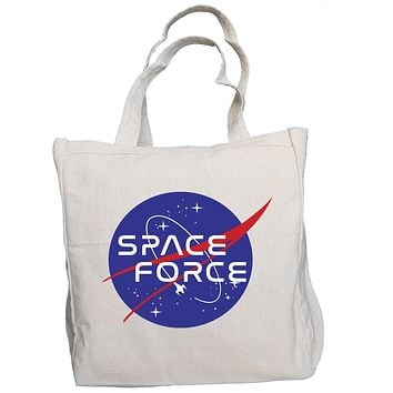 SPACE FORCE USSF NASA Style Pew-Pew Meatball 10oz. Natural Canvas Cotton Tote