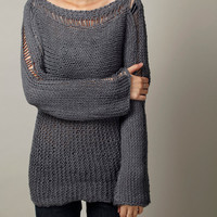 Hand Knit Woman Sweater - Eco Cotton Oversized sweater in Charcoal Grey