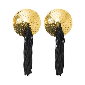 Gold Sequin Pasties With Black Tassels