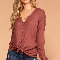 Raquel Rose Button Tie-Front Waffle Knit Top
