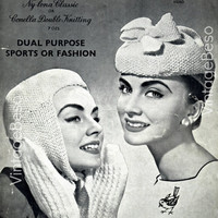 Lady's Deerstalker Hat and Mittens - Vintage 1940s -Ladies Hat and Mittens for Winter Wear KNITTING Pattern - Pdf Pattern - INSTANT Download