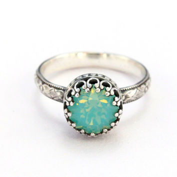 Swarovski Pacific opal ring mint color 8mm crystal sterling silver floral band, crown setting, vintage style, handmade, October birthstone