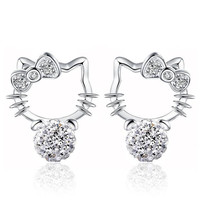 New Silver plated Shambhala Crystal Cat Stud Earrings agate stone imitation pearl Hello Kitty Earrings Bowknot jewelry for women
